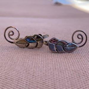 Vintage leaf sterling abalone screw backs earrings
